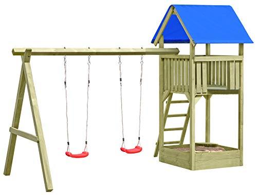 Gartenpirat Spielturm Premium M mit 2x Schaukel Sandkasten aus Holz
