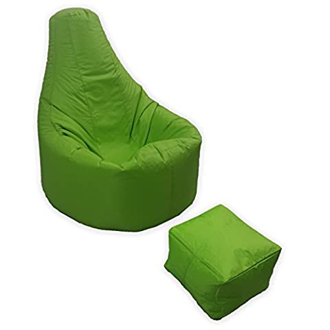 Large Gaming Beanbag Indoor And Outdoor Garden Lounge Gamer Chair with matching Foot Stool in Lime Green High Quality Water Resistant Material by MaxiBean