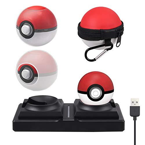 AUTOUTLET 4 en 1 Kit de accesorios para el controlador de Pokeball Plus Estuche de transporte Estuche transparente Funda de silicona y cargador Soporte Compatible con Nintendo Switch Pokémon