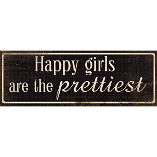 Xavax Schild Happy girls are the prettiest (39 x 14 cm, Vintage Blechschild mit Spruch, Dekoschild) schwarz