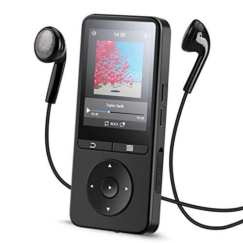 4.2 Bluetooth HiFi MP3 Player mit 2.4 Zoll TFT Display, Aufnahme, mit FM, Erweiterbar bis zu 128 GB, A25, Schwarz, von AGPTEK