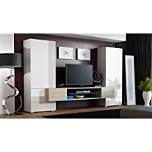 Amazon Fr Ensemble Meuble Tv Blanc Laque