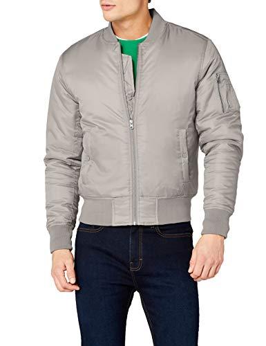 Urban Classics TB861 Herren Jacke - Basic Bomber Jacket, Bomberjacke mit aufgesetzter Tasche und Zipper am Arm, Grau (h.grey 138), Gr. Medium Basic-zipper