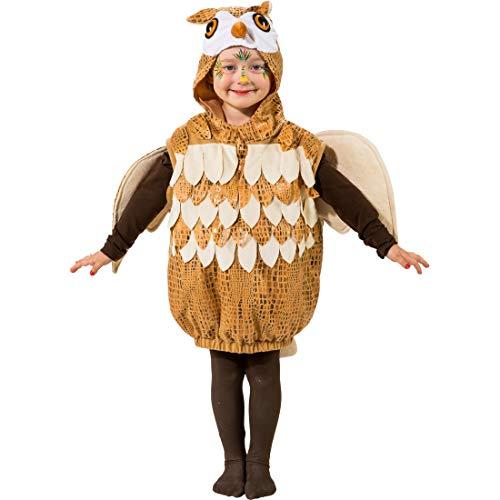 Kostüm-Set für Jungen & Mädchen Eule | Braun-Weiß in Größe 104, 3 - 4 Jahre | Süße Kinder-Verkleidung Uhu | EIN Highlight für Kinder-Fasching & Fasnet ()