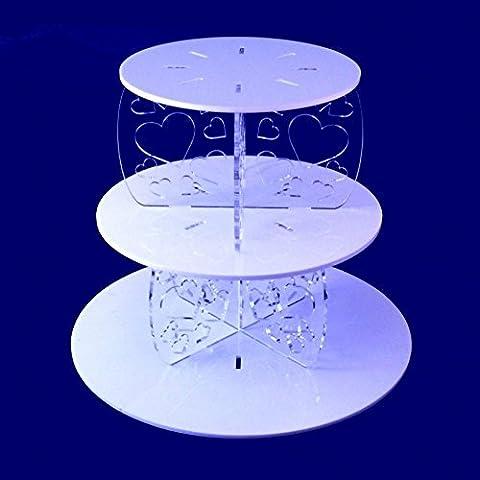Three Tier Heart Design Round Cake Stand -