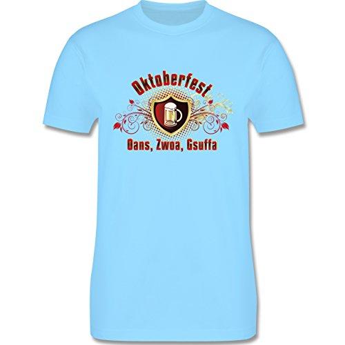 Oktoberfest Herren - Oans, Zwoa, Gsuffa - Herren Premium T-Shirt Hellblau