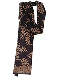 Pure Silk Hand Made Batik Gold Leaf on Navy Scarf