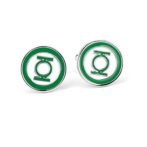 Green Lantern Manschettenknöpfe Paar für Herren Superheld Fans Kostüm Zubehör