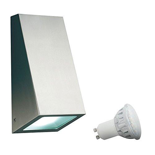 5 Watt LED Edelstahl Wand Leuchte Lampe Außen Lampe Beleuchtung Garten Outdoorlicht