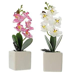 Serie de 2 macetas de orquídeas, planta sintética bien imitada, moldeable gracias al alambre de hierro, maceta de…