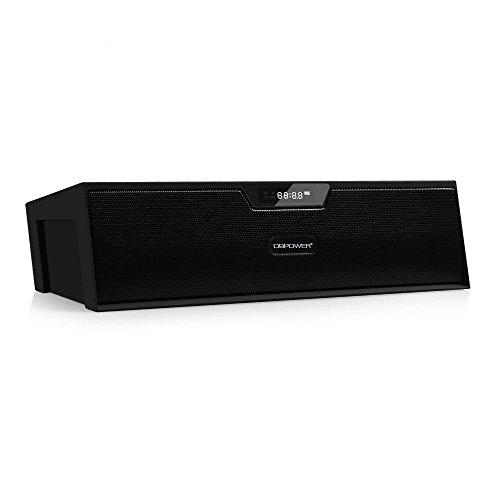 Bluetooth Stereo Lautsprecher, BX-100 LED Anzeige Tragbare Multifunktions Drahtlose Wecker Lautsprecher, Uhrenradio fuer Smartphone und Anderen Bluetooth Geraeten (Schwarz) (- Bluetooth-stereo)