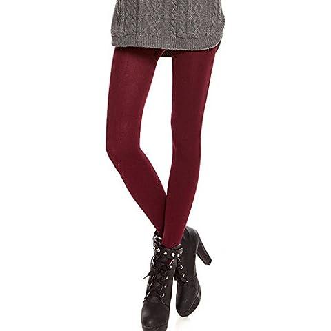 Térmico Caliente Pisotean pies Leggings Pantalones de Densamente cepillado forrado para Otoño invierno Señoras de las mujeres,Color Rojo de Vino