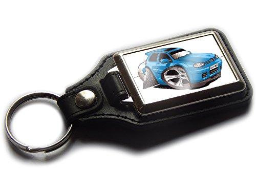 VOLKSWAGEN VW GOLF MK4Hatch Rückseite Premium Koolart Leder und Chrom Schlüsselanhänger wählen Sie eine Farbe., blau (Golf-artwork)
