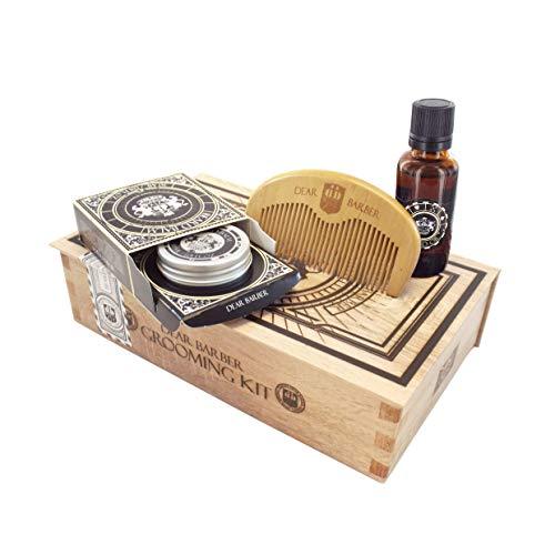 Dear Barber Beard Grooming Men's Gift Set Collection, Beard Oil 30ml, 30ml Beard Balm & Beard Comb
