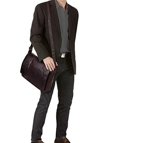 STILORD Elias Borsa a tracolla in pelle Messenger in cuoio vintage Borsa da studente per università Cartella ufficio lavoro per PC 15,6 , Colore:marrone scuro - pallido ebano - marrone