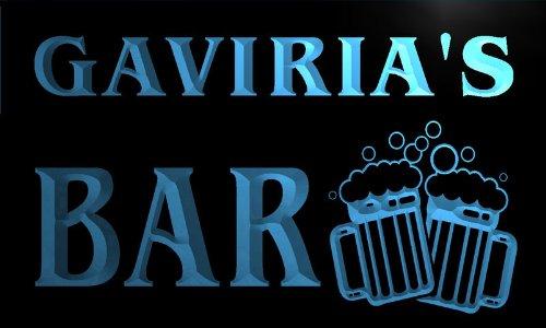 w021653-b GAVIRIA'S Nom Accueil Bar Pub Beer Mugs Cheers Neon Sign Biere Enseigne Lumineuse