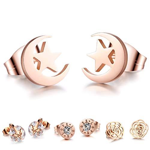 Kim Johanson Damen Ohrringe *15 Designs* aus Edelstahl in Roségold mit Zirkonia Steinchen oder Perlmutt besetzt inkl. Schmuckbeutel (Mond)
