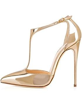 EDEFS Scarpe col Tacco Donna,Sandali con Cinturino alla Caviglia Donna,Scarpe con Chiusura a T Donna
