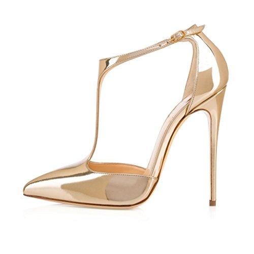 EDEFS Scarpe col Tacco Donna,Sandali con Cinturino alla Caviglia Donna,Scarpe con Chiusura a T Donna Oro-Gold