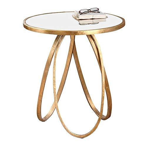 DEO Fin de fer de verre trempé de loisirs de table de thé de table ronde de fin d'or 60 * 66cm or pour le salon