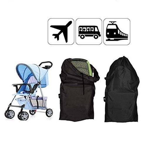 Fakeface Universal Stroller Travel Bag Gate Check Bag Baby Pram Buggy Pushchair Uppababy Transport Bags Lightweight Portable Oxford Fabric Stroller Storage Holder Bags Black (Size:4620.913)