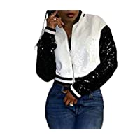 ‏‪GAGA Women Sexy Long Sleeve Zipper Color Block Patchwork Sequins Loose Fashion T Coat Tops White XL‬‏