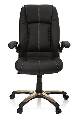 hjh OFFICE, 621600, Home office chair, swivel chair, PALATIN, black, faux leather, High back Executive armchair, extra padded, pc desk computer height adjustable, padded armrests fold back