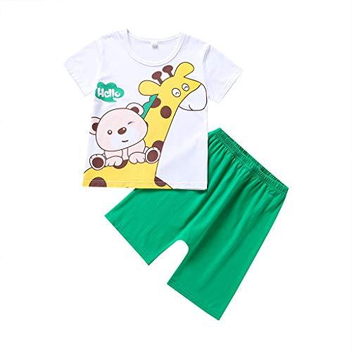 wuayi  Baby Jungen Mädchen Kleidung Cartoon Giraffe Print Kurzarm T Shirt Shorts 0-24 Monate