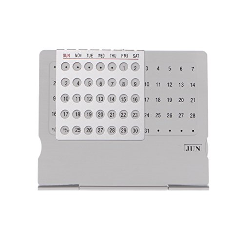 Price comparison product image jigang Desk Adjustable Perpetual Calendar DIY Aluminum Calendars Office Supplies Hand Set Fun Gifts,  The Ideal Desk Accessory