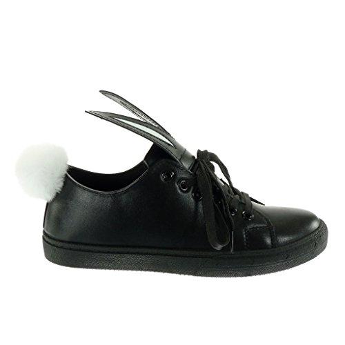Angkorly - damen Schuhe Sneaker - Tennis - fantasy - Bommel flache Ferse 2.5 CM Schwarz