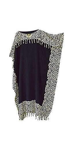 Coole Kaftan Kaftan NIA Damen Leopard Beach Wear Kleidung Damen Batik Lange Quasten Fringe Damen-Frauen-Strand Lose Kleid Kühle