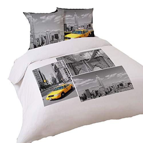 LINGE USINE Housse de Couette Taxi de New York 240 x 220 +2 Taies Coton