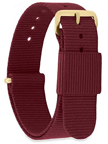 MOMENTO Damen Herren NATO Nylon Ersatz Uhren-Armband Strap mit Edelstahl-Schliesse in Gelb-Gold und Nylon-Armband in Dunkel-Rot 18mm
