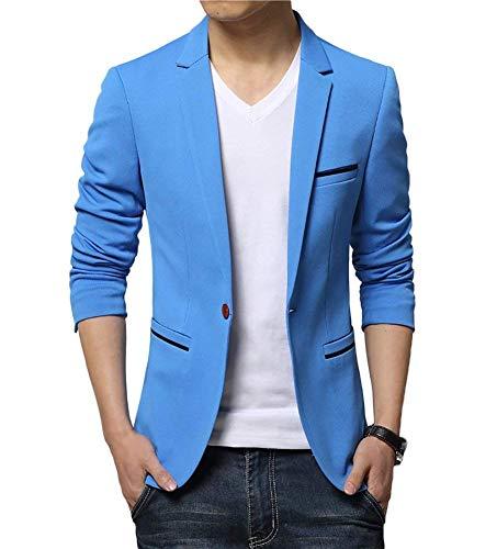 Herren Sakko Business Slim Anzug Fit Freizeit Einfarbig Modernas Lässig Männer Casual Anzugjacken 1 Knopf Nner Freizeit Blazer Jacke (Color : Blau, Size : 42)