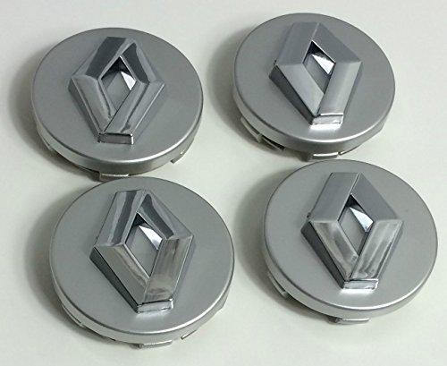 X4 Renault 60 mm de haute qualité en alliage de roue badge Chrome Argent Logo Emblème Centre hub cache-vis Kadjar Megane Captur Clio Grand Scenic Scenic Twingo Twizy Zoe Kanzoo et d'autres modèles