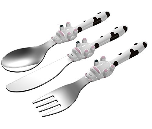 EXZACT in acciaio inox per bambini Posate 3 pezzi Set - 1 x forchetta, 1 x coltelli, 1 x Cucchiai Cena (Mucca x 3)