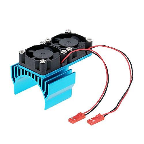 540/550 Moteur Dissipateur De Chaleur Double Ventilateur De Refroidissement Pour 1/10 Hsp Voiture Rc - Bleu
