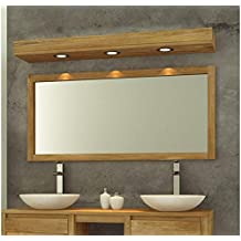 Miroir teck style vintage pour salle de bain avec tablette 60 x 80 cm