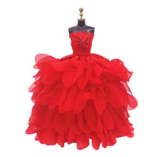 Etbotu Minipuppen Bekleidung Spielzeug Elegante Sch?ne Brust Ohne ?RMEL Wrap Abend Hochzeitskleid Rock Kleidung f¨¹r Barbie Puppen Handpuppe Zubeh?r Weihnachtsgeschenk Geburtstagskarte Hs005 RW Pink