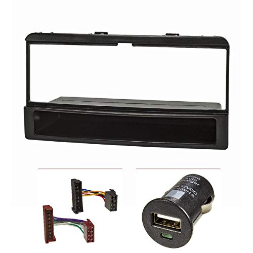 tomzz Audio 2415-025 Radioblende Set passend für Ford Focus Fiesta Escort Cougar Puma Mondeo Transit mit Ablagefach, Radioadapter ISO, USB-Lader