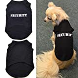 Veena 2017 100 Cotton Summer Black Security Dog Vests Letter Casual Daily Dog Clothes Plus Size Xs3Xl Fashion Cool Pet Shirts Black S