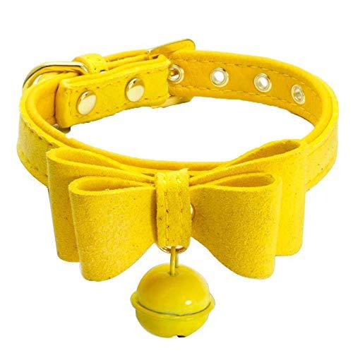 Smniao Hundehalsband Gepolsterten Leder Haustier Katzen Bowknot Halsband mit Glocke Verstellbares für Kleine Mittlere Hunde Gürtel (S, Gelb)