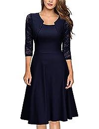 Damen Abendkleider Elegante Spitzenkleid Vintage Kleid 3 4 Ärmel  Partykleider Knielang Cocktailkleid Festlich… fd1abf73f1