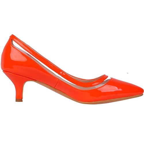 Calaier Femme Experience 9.5CM Aiguille Glisser Sur Escarpins Chaussures Orange