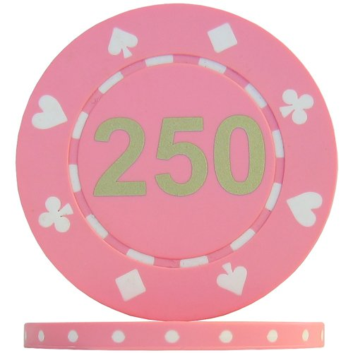Suited Numbered Poker Chips - Pink 250 Matt Font  Roll of 25