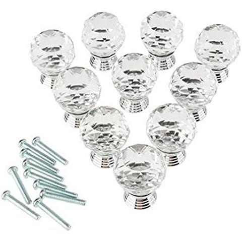 Dealglad® - Confezione da 10pomelli in vetro di cristallo, 20mm, rotondi, per credenze, cassetti, maniglie