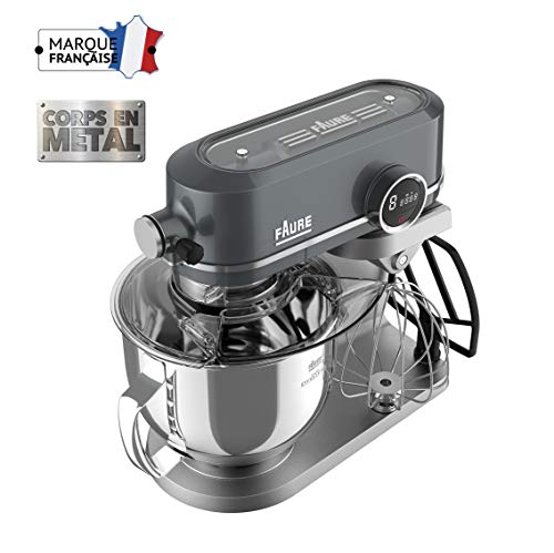 Faure FKM-901ME1 Robot Pâtissier Magic Baker Excellence - 800W transmission directe - Mouvement Planétaire - Bol Inox 5,2L - Coloris Dark Grey