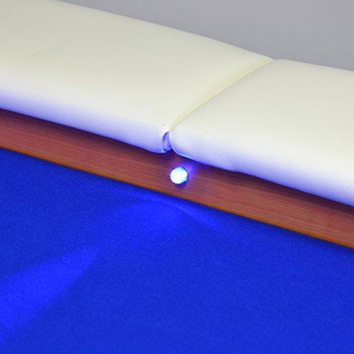 Nexos Pokertisch massiv Casinotisch aus Holz für Poker mit blauem Filzbezug weißen Armlehnen und LED Beleuchtung für 10 Spieler 213 x 105 cm - 7