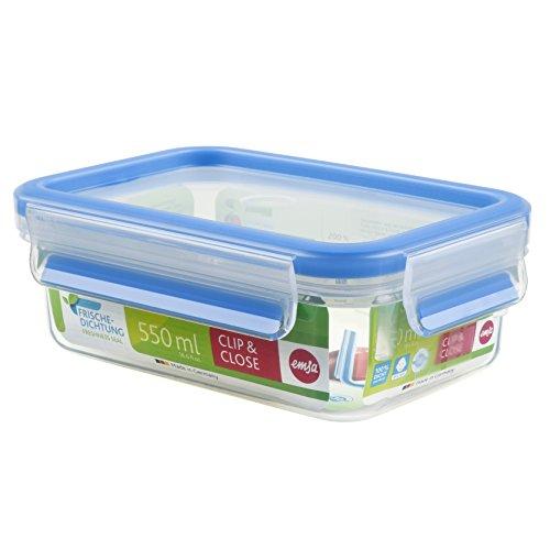Emsa Clip&Close – Conservador Hermético de Plástico Rectangular, higiénico, no retiene olores ni sabores 100% libre de BPA