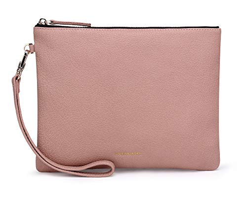 Doris&Jacky Damen Weiches Lammleder Wristlet Clutch-Bag für Designer Große Geldbeutel mit Bügeln Mitte Rosa-Ziegenleder -